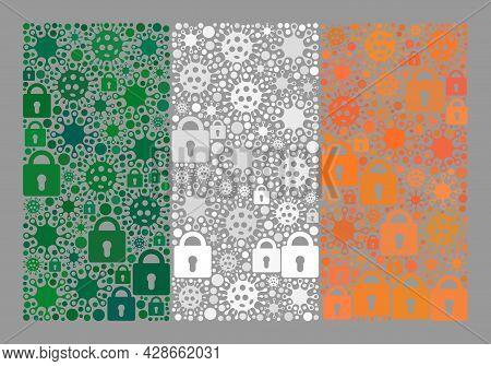 Mosaic Covid Lockdown Ireland Flag Created With Locks And Covid-2019 Elements. Vector Mosaic Rectang