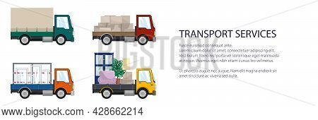 Colorful Small Trucks With Different Loads , Empty And Covered Trucks, Lorries With Furniture And Wi