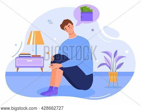 Depressed Young Male Character Crying Over Financial Problems And Debts. Concept Of Businessman Brok