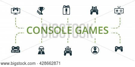 Console Games Icon Set. Contains Editable Icons Theme Such As Race Games, Game Console, Avatar And M