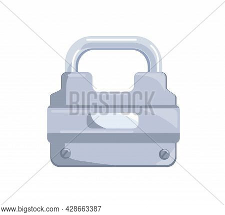 Hanging Locked Metal Shining Padlock With Closed Iron Shackle. Icon Of Secure And Private Access. Re