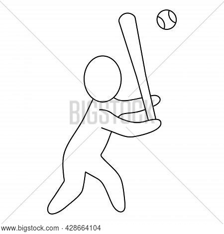 The Baseball Player Hits The Ball With A Bat. Sketch. Vector Icon. Batter Prepares To Hit. A Man Pla