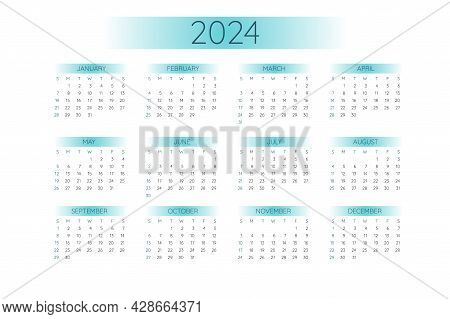 2024 Pocket Calendar Template In Strict Minimalistic Style With Mint Color Gradient Elements, Horizo