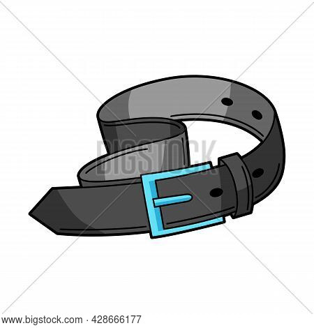 Illustration Of Black Belt. Teenage Creative Accessory. Youth Subculture Symbol In Cartoon Style.