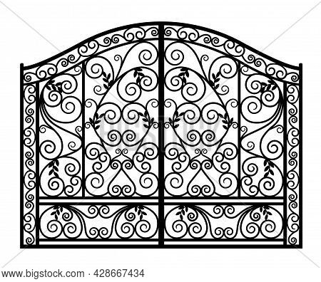 Black Forged Gate With Ornaments On A White Background