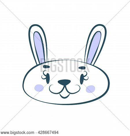 Kawaii Muzzle Of A Cute Hare, Bunny Or Rabbit. Illustration For Nursery Poster. Beautiful Decor For