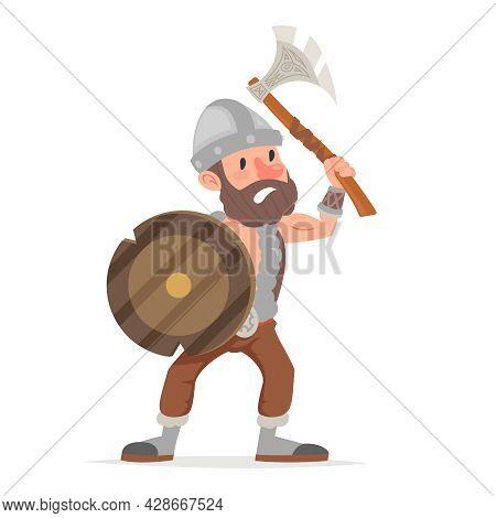 Barbarian Viking Northerner Axe Sheld Fantasy Action Game Rpg Character Vector Illustration