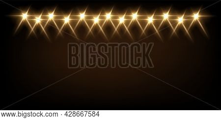 Yellow Light From Projectors On Black Background. Spotlight With Beams Effect On Stage Vector Illust