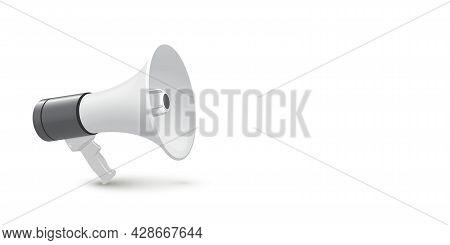 Loudspeaker, Bullhorn On White Background. Cartoon Megaphone For Shouting, Speaking Public Message,