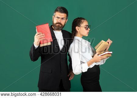 Portrait Of Teacher And Young Student Teen Girl, Isolated. Student Girl And Teacher In School Unifor