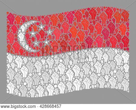 Mosaic Waving Singapore Flag Constructed With Riot Hand Elements. Strike Hand Vector Collage Waving