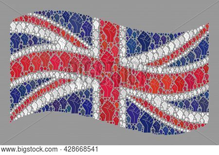 Mosaic Waving United Kingdom Flag Constructed Of Rebel Icons. Protest Fist Vector Mosaic Waving Unit