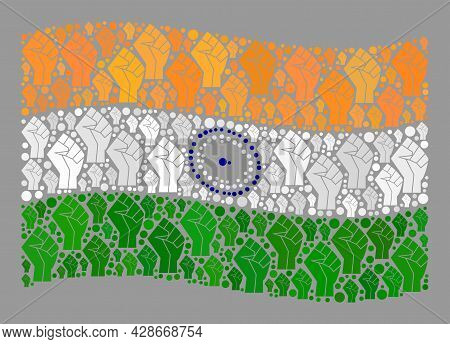 Mosaic Waving India Flag Designed With Riot Hand Icons. Strike Fist Vector Mosaic Waving India Flag