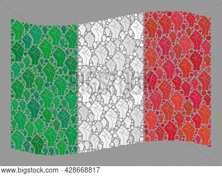 Mosaic Waving Italy Flag Designed With Force Icons. Protest Fist Vector Collage Waving Italy Flag Co