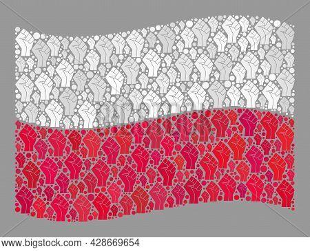 Mosaic Waving Poland Flag Designed With Fist Items. Riot Fist Vector Collage Waving Poland Flag Crea