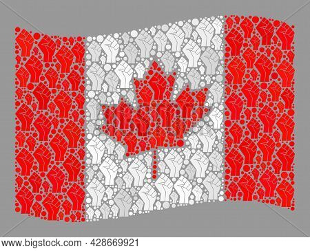 Mosaic Waving Canada Flag Designed Of Riot Hand Items. Riot Fist Vector Collage Windy Canada Flag Or