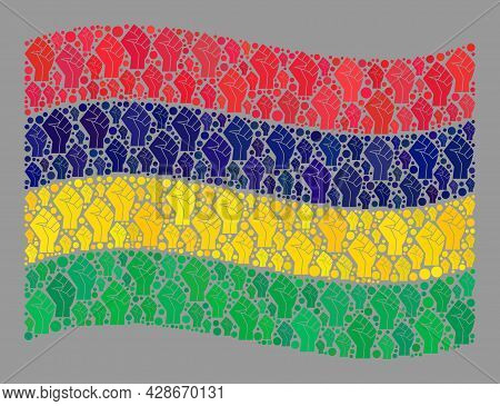 Mosaic Waving Mauritius Flag Designed Of Protest Icons. Revolution Hand Vector Collage Waving Maurit