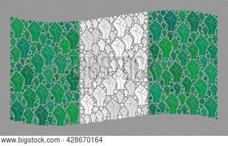 Mosaic Waving Nigeria Flag Created With Riot Hand Items. Riot Hand Vector Collage Waving Nigeria Fla