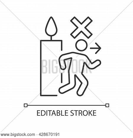 Never Leave Burning Candle Linear Manual Label Icon. Dont Walk Away. Thin Line Customizable Illustra