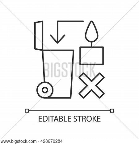 Never Throw Hot Wax In Trash Bin Linear Manual Label Icon. Thin Line Customizable Illustration. Cont