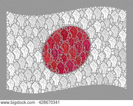 Mosaic Waving Japan Flag Designed With Riot Hand Icons. Conflict Fist Vector Collage Waving Japan Fl