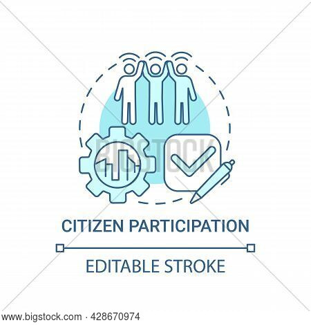 Citizen Participation Blue Concept Icon. People Involvement Abstract Idea Thin Line Illustration. Gr