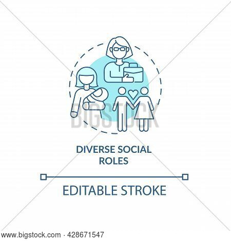 Social Role Identification Concept Icon. Life Way Direction And Personal Development. Family And Car