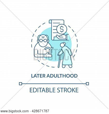 Later Adulthood Period Concept Icon. Aging Problem. Life Meaning Understanding. Retirement And Senio