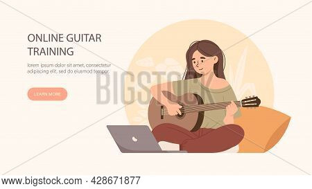 Learning, Online Education, Training To Play Guitar, Music Lessons. Girl Watching Video Lesson On La