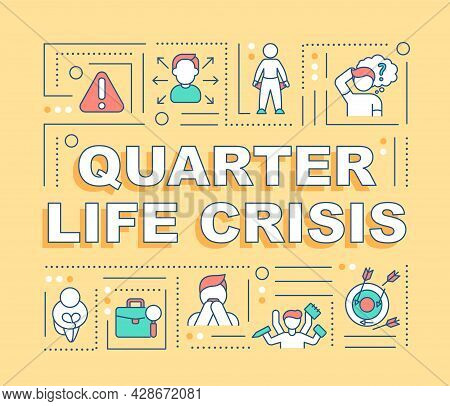 Quarter Life Crisis Word Concepts Banner. Choosing A Career Path. Infographics With Linear Icons On