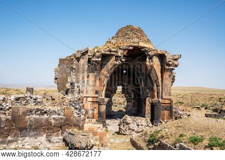 Ani City Ruins Historical Ancient Ruins Of An Antique City In Kars, Turkey. High Quality Photo