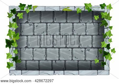 Gray Stone Wall, Vector Rock Tile Texture, Ancient Brick Background, Green Ivy Leaf, Creeper Plant.