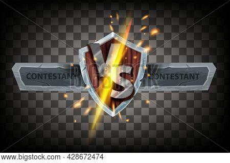 Vs Game Battle Vector Concept, Versus Fight Esport Duel Banner, Energy Clash, Medieval Shield, Spark