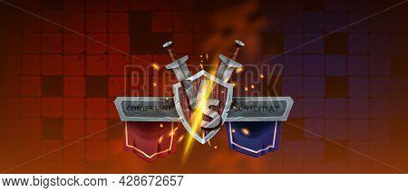 Vs Game Background, Vector Versus Battle Duel Illustration, Esport Fight Banner, Wooden Shield, Red