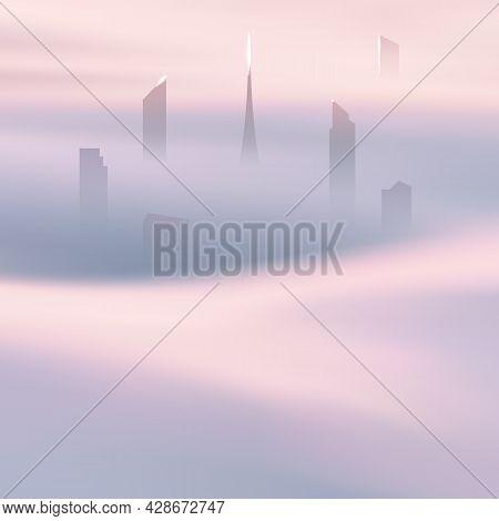 City Skyscrapers. Foggy Clouds. Pastel Fog Waves. Urban Landscape