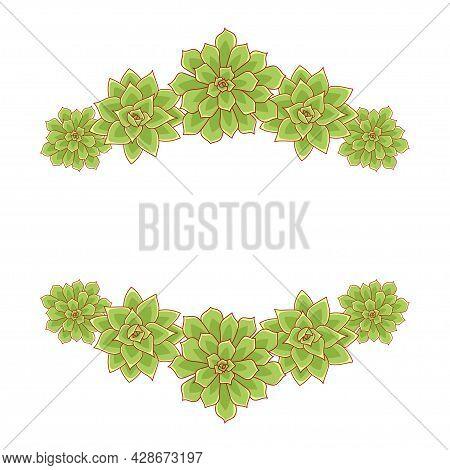 Succulent Echeveria Vector Frame. Hand Drawn Desert Flower Illustration In Flat Style. Set Silhouett