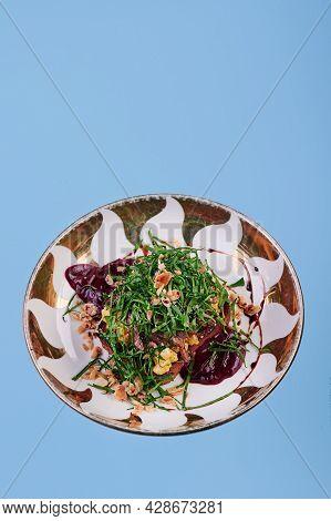 Toast With Scrambled Eggs And Mushrooms. Lenten Menu. Vegetarian Toast In A Beautiful Plate On A Blu