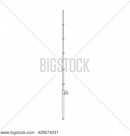 Fishing Rod Vector Icon.outline Vector Icon Isolated On White Background Fishing Rod.