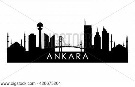 Ankara Skyline Silhouette. Black Ankara City Design Isolated On White Background.