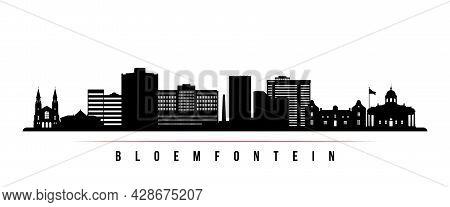 Bloemfontein Skyline Horizontal Banner. Black And White Silhouette Of Bloemfontein, South Africa. Ve