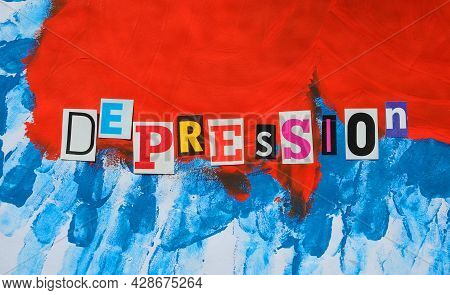 Word Writing Text Depression From Cut Letters On Abstract Strokes Bright Colorful  Background. Headl