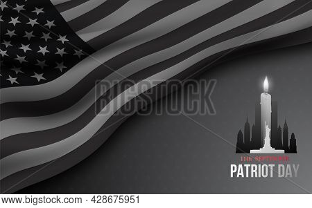 Concept Black And White Banner For American Patriot Day. We Will Never Forget  9/11 Memorial Day. Ve