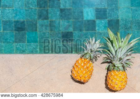 Two Juicy Pineapples Lie By The Water. Pineapple By The Pool On A Hot Day