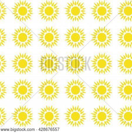Sun Emblem Tribal Symbol Yellow And White Seamless Pattern.