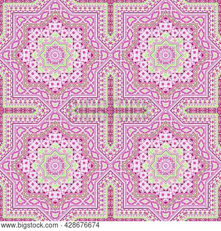 Flat Portugese Azulejo Tile Seamless Ornament. Geometric Texture Vector Motif. Bedcover Print Design