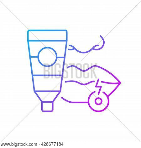 Cream For Cold Sore Gradient Linear Vector Icon. Antiviral Ointment. Treat Fluid-filled Blisters On