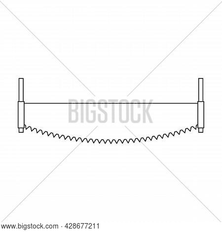 Saw Two-handed Vector Icon.outline Vector Icon Isolated On White Background Saw Two-handed .