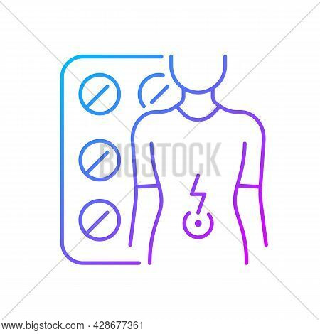 Tablets For Stomach Ache Gradient Linear Vector Icon. Relaxing Muscles In Abdomen. Digestive Wellbei