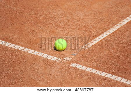 Tennis Ball At The T Line
