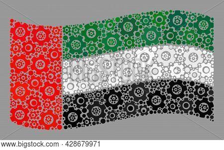 Mosaic Waving United Arab Emirates Flag Designed Of Gearwheel Icons. Vector Cog Collage Waving Unite
